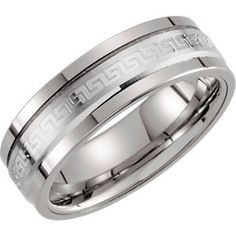 Tungsten & 14kt White 8mm Grooved Ridged Band Size 11