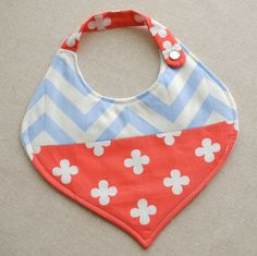 Genie Bib in Chevron and Florish Red