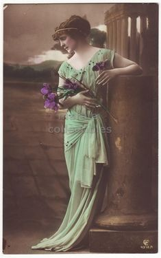 Beautiful Elegant Woman in Long Green Dress, 1910s retro vintage fashion glamour antique portrait photo postcard