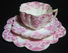 Wileman Foley -pre Shelley China Blackberry Trio Cup and Saucer CA 1899