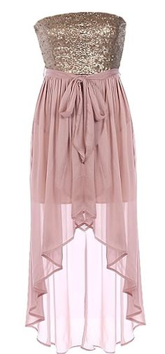 Silk Serenade Dress: Features a glittering rose-gold sequin bodice, flowing silk chiffon skirt with inner lining for no show-through, removable chiffon sash at waist, and a flattering high-low hem to finish.