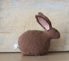 Small Brown Cashmere Bunny Doll // Easter Bunny by thehandmaid