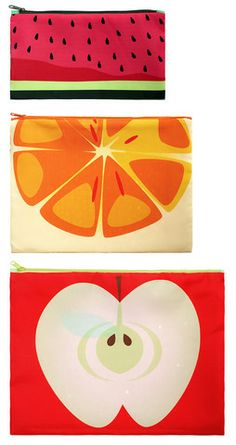 FRUTTI zip pouches by LOQI - waterproof, bright, and easy to spot in a crowded bag