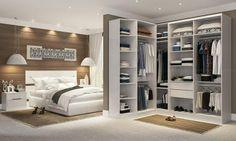 Quarto de Casal Modulado com Closet, Cabeceira e Criados-mudos Branco/Fiore Ciliégio - Caaza