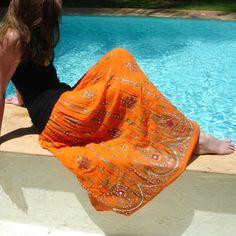 Orange jupe Maxi  Jupe longue gitane de Bollywood par DelhiDaze