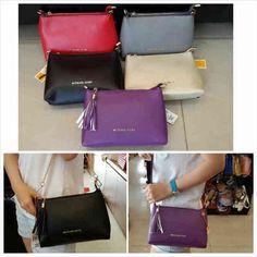 MK SLING BAG SEPREM SZ.25X6X16 BH.KULIT TAIGA.( Dpt 2 Tali ). IDR 220K. Colours: purple, beige, black, pink, blue. cp Risa - 089608608277