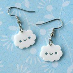 so kawaii earrings clouds Kawaii Jewelry, Kawaii Accessories, Jewelry Accessories, Weird Jewelry, Cute Jewelry, Funky Earrings, Diy Kawaii Earrings, Accesorios Casual, Kawaii Clothes