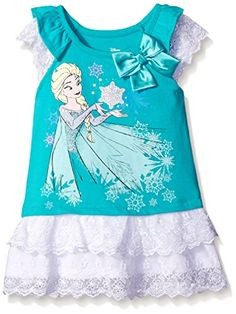 Disney Little Girls Elsa Frozen Jersey Tunic with Lace Ruffles Aqua 6 * You can find out more details at the link of the image.