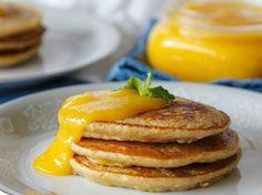 Plantain Pancakes with Mango Sauce (use gluten free baking mix) Gluten Free Baking Mix, Gluten Free Recipes, Vegan Recipes, Plantain Pancakes, Jamaican Cuisine, Mango Sauce, Puerto Rican Recipes, Gluten Free Breakfasts, Pancake