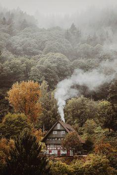 "banshy: ""Black Forest by Stefan Schwittek "" Cabin In The Woods, Cottage In The Woods, Into The Woods, House In The Forest, Black Forest House, Autumn Aesthetic, Nature Aesthetic, Beautiful World, Beautiful Homes"