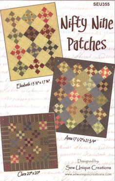 Nifty Nine Patches Quilt Pattern PDF Reproduction Traditional Style; Sew Unique Creations