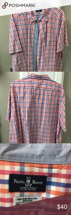 Psycho Bunny multi color Plaid Sport Shirt Colorful short sleeve bright colored Plaid shirt.  Great for any spring/summer gathering. The Psycho Bunny Logo always gets a lot of attention! Excellent condition. Psycho Bunny Shirts Casual Button Down Shirts