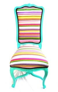 Vintage side chair painted in a high gloss seafoam and reupholstered in a striped cotton and finished off with purple velvet piping.$910.00