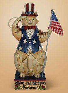 Jim Shore's Patriotic Cat Statue