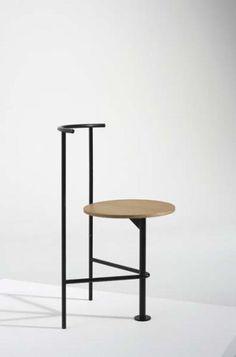 SHIRO KURAMATA Three-legged chair, ca. 1986 Painted tubular metal, oak. 30 3/8 in. (77.2 cm) high Estimate $5,000 - 7,000 SOLD FOR $6,250 - PHILLIPS : Auction