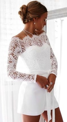 #summer #outfits White Lace Tatiana Playsuit