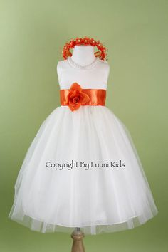 White And Orange Flower Girl Dress - White color is regarded as a sign of joy and innocence. A few communities consider it Girls Bridesmaid Dresses, Bridesmaid Flowers, Wedding Bridesmaids, White Tulle Dress, White Flower Girl Dresses, Flower Girls, Wedding Attire, Wedding Dresses, Autumn Wedding
