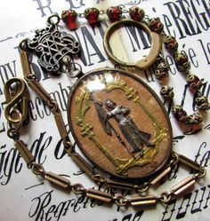 Antique Joan of Arc necklace ex voto bubble glass relic Ave Marie reliquary watch chian links glass brass capped rosary beads one of a kind by madonnaenchanted on Etsy