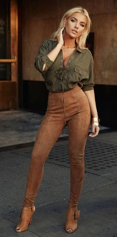 Brown velvet pants and an olive top - LadyStyle