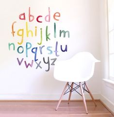 Lowercase Rainbow Watercolor Letters are a set of Mej Mej fabric wall decals from the Color Story children's decor collection. Wall Letter Decals, Polka Dot Wall Decals, Polka Dot Walls, Kids Wall Decals, Wall Stickers, Kids Room Wall Decals, Wall Vinyl, Vinyl Decals, Wall Art