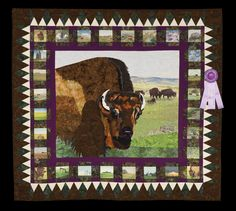 Honorable Mention, Category 9, Wall Quilts,Machine Quilted - Pictorial: Where the Buffalo Roam, Marcia Shipman, Rutland, Vt., www.quitexpo.com