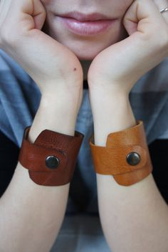 Simple Leather cuff Italian leather Red by stitchandtickle