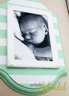 DIY Stacked Wall Frame love this for newborn pic of Coop