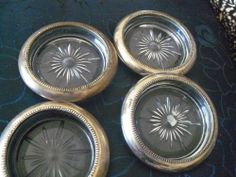 Set of 4 Vintage Cut Glass Coasters trimmed with silver