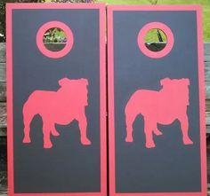 Handpainted UGA Cornhole Boards no vinyl by handmadesbyKaren