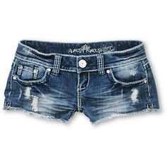 This sizzlin' pair of short shorts is a must-have for your summer outings. The Almost Famous Holly denim shorts are the cut offs you need to go with any outfit with a faded medium blue wash, ripped details, and contrast stitching. With a low rise fit, raw