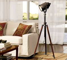 Shop photographer's lamp from Pottery Barn. Our furniture, home decor and accessories collections feature photographer's lamp in quality materials and classic styles. Arc Floor Lamps, Modern Floor Lamps, Living Room Flooring, My Living Room, Barn Living, Pottery Barn Floor Lamps, Spotlight Lamp, Home Modern, Modern Living
