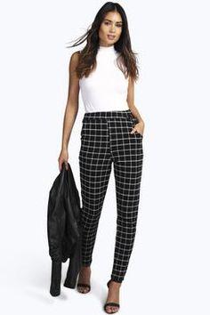 Mila Monochrome Grid Check Skinny Trousers