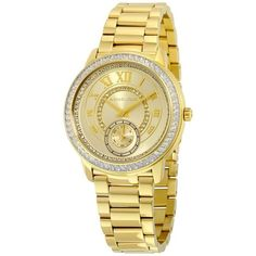 Pre-owned Michael Kors MK6287 Madelyn Champagne Dial Gold Tone... ($125) ❤ liked on Polyvore featuring jewelry, watches, goldtone jewelry, preowned jewelry, preowned watches, pre owned jewelry and pre owned watches
