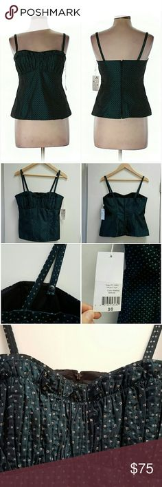 *Sale* NWT Nanette Lepore Frolic Top in Marine Super cute top! The color is called Marine. The material & pattern remind me of a tie. The necklace has scalloped material & the bust is ruched.   Zipper back completely unzips for easy dressing & removal. Convertable straps can make a crisscross back or be removed completely for a strapless look. These are the quality details you would expect in a Nanette Lepore design. 100% Rayon.  I'm selling lots of NWT items. Pls check out my closet for…