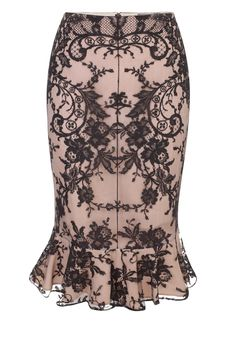 Floral Lace Ruffle Detail Skirt  black floral lace over flesh silk  Alexander McQueen