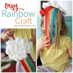 Do your kids love rainbows? They'll love this craft that is bursting with colors and FUN! The yarn adds some extra fun. Few materials needed.