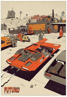 As ilustrações vetoriais de Krzysztof Nowak - Update or Die! Arte Cyberpunk, Comics Illustration, Vector Illustrations, New Retro Wave, Ligne Claire, Futuristic Art, Science Fiction Art, Automotive Art, Sci Fi Art