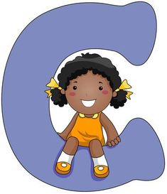 Illustration of a Little Girl Sitting on a Letter C