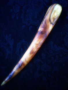 Yew wood hair stick with beautiful grain by Furnival's Workshop