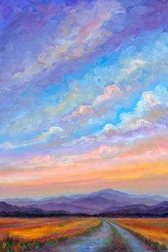 """Road to Ridges : Sunset Clouds View of Mt. Pisgah at Dusk, near Hollabrook Farm in South Asheville, Northern Carolina, USA"". (Oil Painting on X Canvas) ~ by Jeff PITTMAN. Aesthetic Painting, Aesthetic Art, Oil Painting On Canvas, Canvas Art, Painting Abstract, Road Painting, Painting Art, Painting Flowers, Painting Videos"