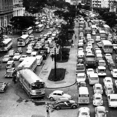 Traffic in Anhangabau (Sao Paulo/Brazil), circa 1969/1971