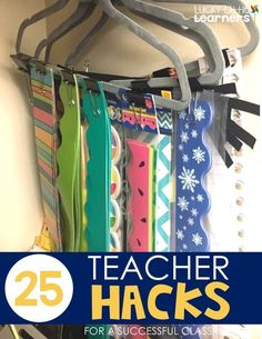 25 Teacher Hacks for a Successful Classroom - Lucky Little Learners: Bulletin Board Storage Use hangers and binder clips to store your bulletin board borders. This is a great way to see exactly what you have and requires quick and easy storage. 2nd Grade Teacher, 2nd Grade Classroom, New Classroom, Classroom Setup, Preschool Classroom Layout, Teacher Classroom Decorations, Classroom Libraries, Seasonal Classrooms, Kindergarten Bulletin Boards