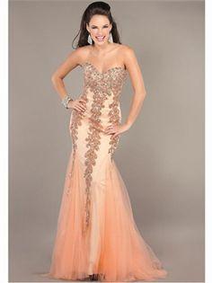 Red/Orange Mermaid Beading Sweetheart Tulle 2013 Prom Dresses