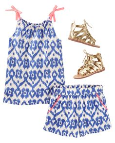 Everyone will love this matching ikat print tank + culottes short set. Don't forget gladiator sandals made especially for the girl with a heart of gold.