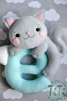 Felt baby name nursery decor Personalized Baby Nursery by TiTics felt cat felt letters