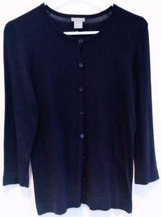 100% Cashmere Sweater Size M Navy Blue Cardigan Womens J Crew 38 ...