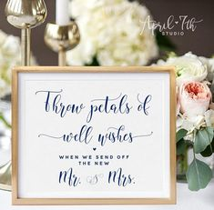 Throw petals Sign // Wedding Petal toss available at www.e… 2019 Wedding Dress Fashion New … Wedding Send Off, Wedding Reception Signs, Wedding Renewal Vows, Wedding Ceremony Decorations, Gatsby Wedding, Dream Wedding, Wedding Confetti, Confetti Cones