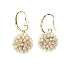 TS Luxury Pearl Inlaid Fireball Spherical Drop Earrings #wedding #earrings #luxury