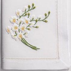 Orchid Spray White<br>Napkin - White Cotton