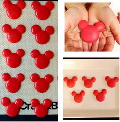 www.marcellespastry.com Mickey Mouse Macarons! Disney Desserts, Cute Desserts, Disney Food, Dessert Recipes, Disney Cars, Minnie Mouse Cake, Mickey Cakes, Comida Disney, Mouse Parties